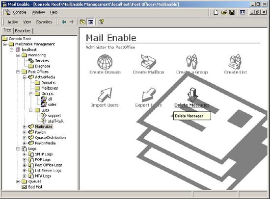 Administrare serviciu MailEnable utilizînd MMC