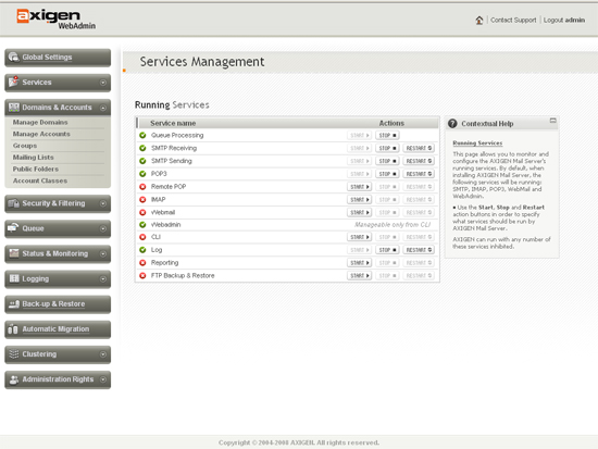 Clientul Axigen de administrare a serviciilor de poştă electronică